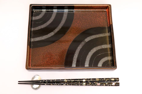 Square Plate - Tenmoku Tassa - 30 pieces set