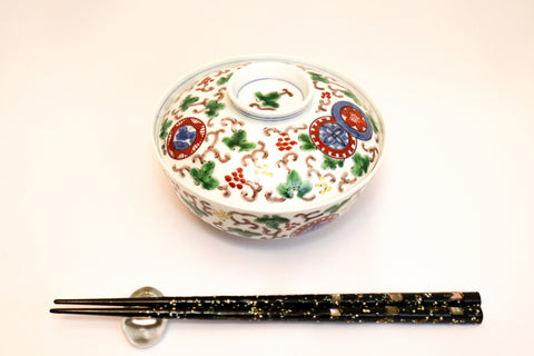 Bowl with Lid - Marumon Karakusa