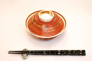 Bowl with Lid - Gold Carving Line