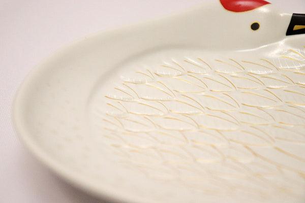 Small Plate - Gold Feather Crane