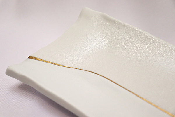 Serving Tray - Pearl White × Gold Line