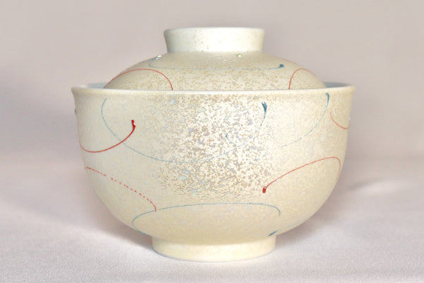 Bowl with Lid - Lustre Bule and Red