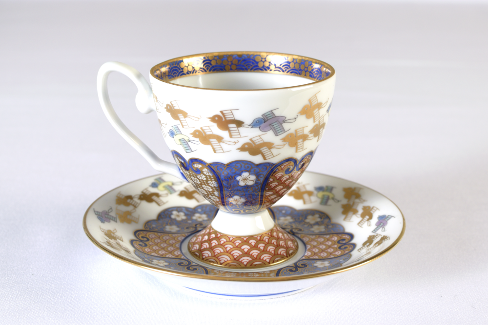 Coffee cup & Saucer Set - Gold Chidori