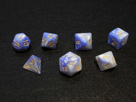 Polyhedral Blend Light Blue+White Dice Set