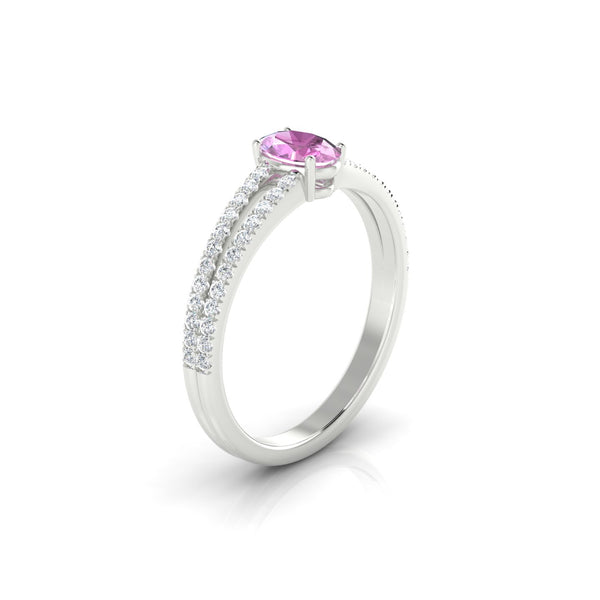 Adelaide Saphir rose | Ovale 6 x 4 mm Argent 925