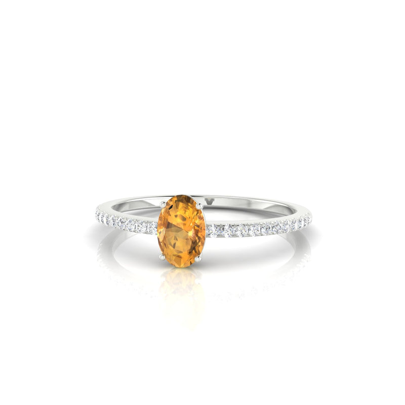 Alienor Citrine | Ovale 6 x 4 mm Argent 925