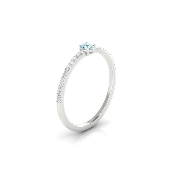 Alienor Aigue-marine | 3 mm Argent 925 Ronde