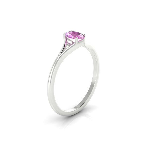 Aurore Saphir rose | Ovale 6 x 4 mm Argent 925