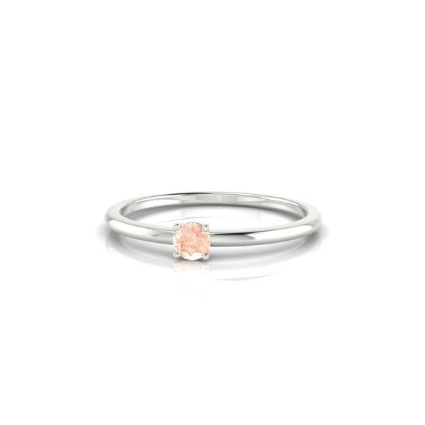 Blanche Morganite | 3 mm Argent 925 Ronde