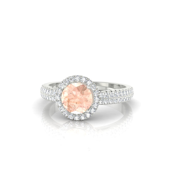Celestine Morganite | 6 mm Argent 925 Ronde