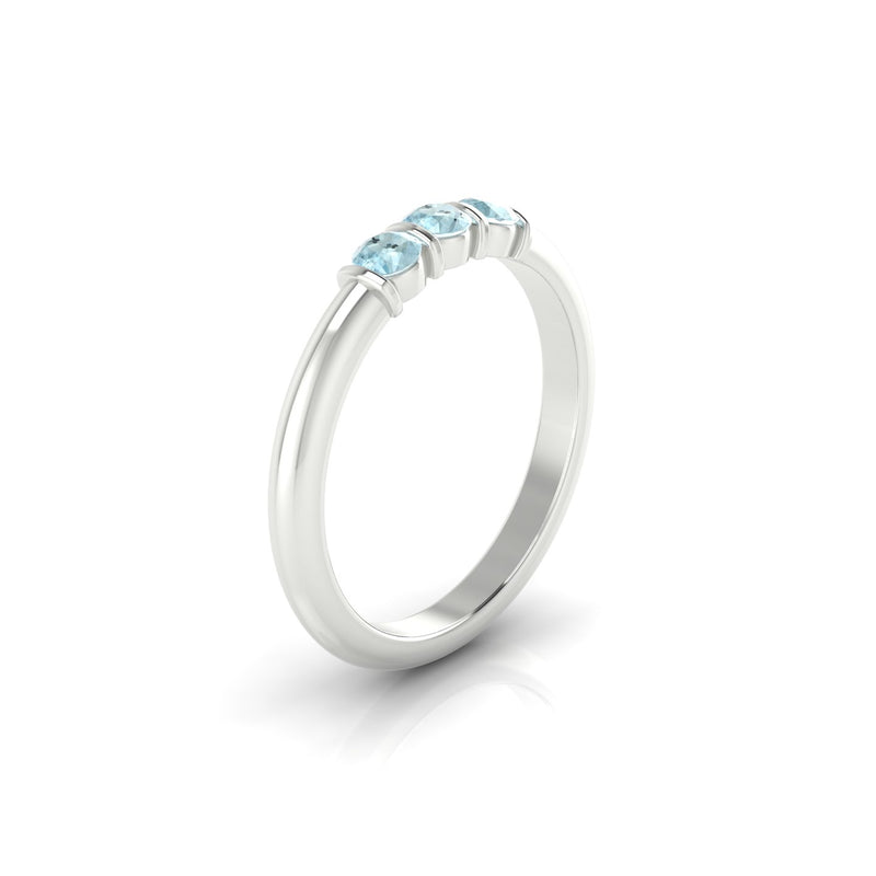 Flamboyante Aigue-marine | 3 mm Argent 925 Ronde