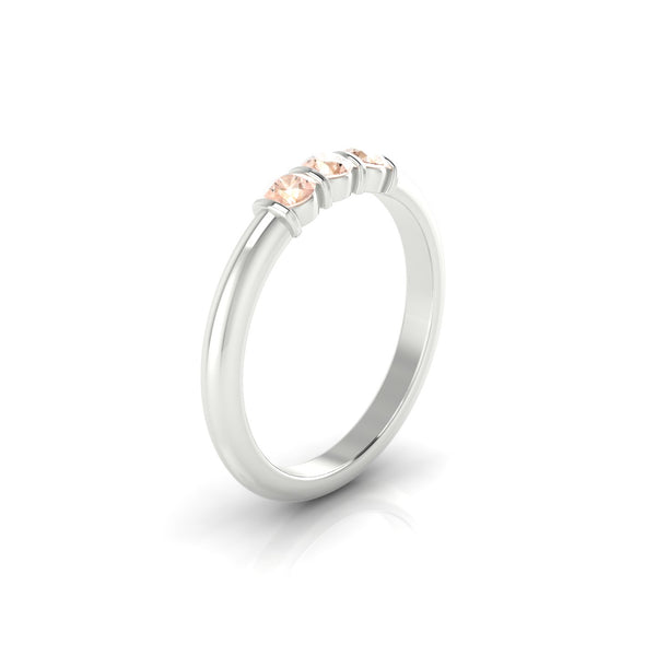 Flamboyante Morganite | 3 mm Argent 925 Ronde