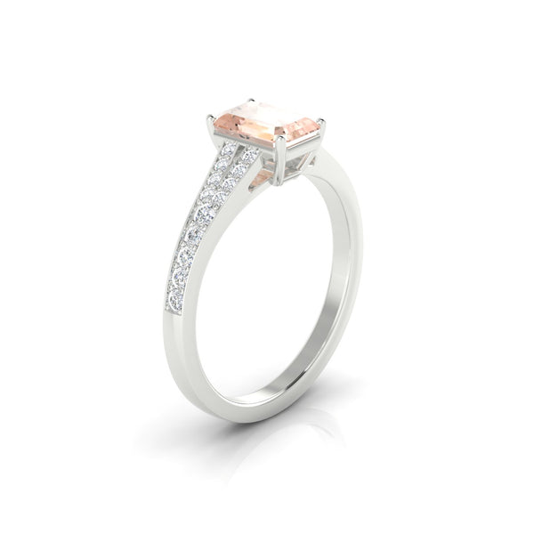 Majestueuse Morganite | Emeraude 7 x 5 mm Argent 925