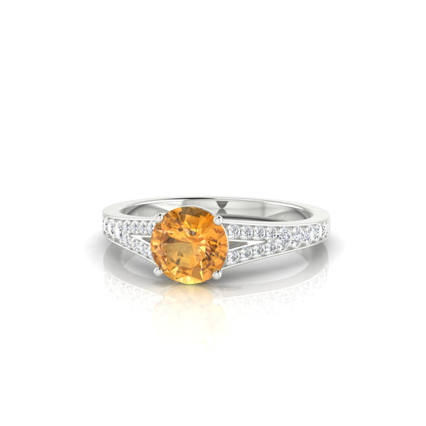Majestueuse Citrine | Ronde 6 mm Argent 925