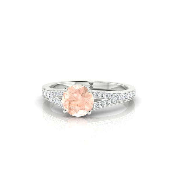 Majestueuse Morganite | Ronde 6 mm Argent 925