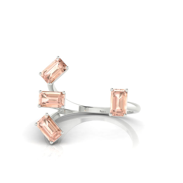 Olympie Morganite | Emeraude 5 x 3 mm Argent 925