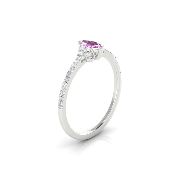 Sublime Saphir rose | Marquise 6 x 3 mm Argent 925