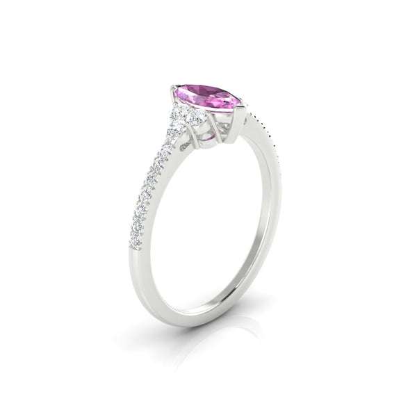 Sublime Saphir rose | Marquise 8 x 4 mm Argent 925