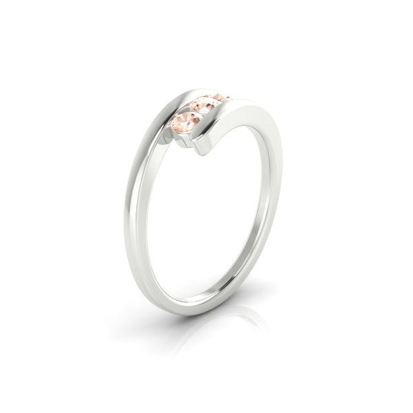 Trio Morganite | 3 mm Argent 925 Ronde
