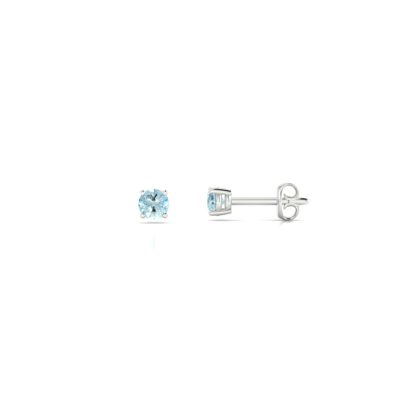 Annaelle Aigue-marine | 3 mm Or Blanc 18k Ronde
