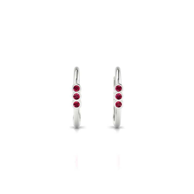 Appoline Rubis | 1.3 mm Or Blanc 18k Ronde