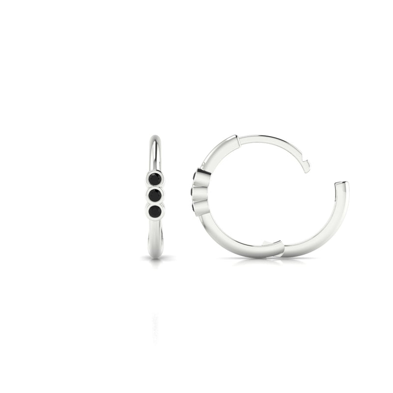 Appoline Diamant noir | 1.3 mm Or Blanc 18k Ronde