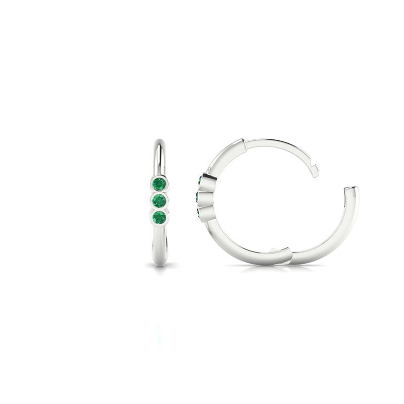 Appoline Emeraude | 1.3 mm Or Blanc 18k Ronde