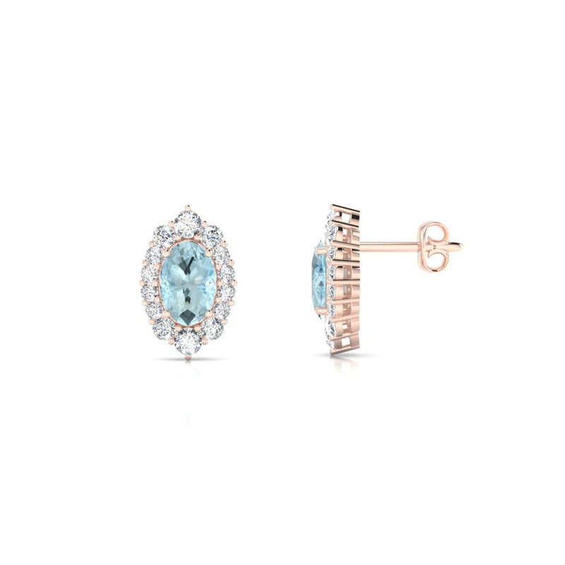 Eileen Aigue-marine | Ovale 6 x 4 mm Or Rose 18k