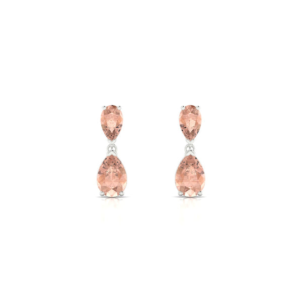 Jeanne Morganite | Poire 6 x 4 mm Argent 925