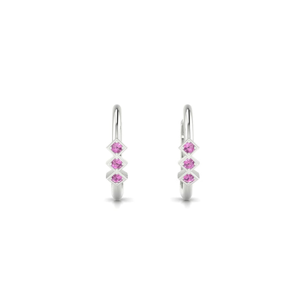 Louka Saphir rose | 1.3 mm Or Blanc 18k Ronde