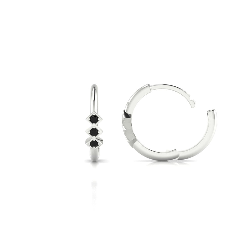 Louka Diamant noir | 1.3 mm Or Blanc 18k Ronde