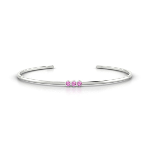 Appoline Saphir rose | 2.5 mm Or Blanc 18k Ronde