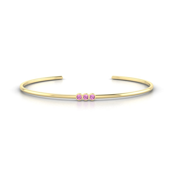 Appoline Saphir rose | 2.5 mm Or Jaune 18k Ronde