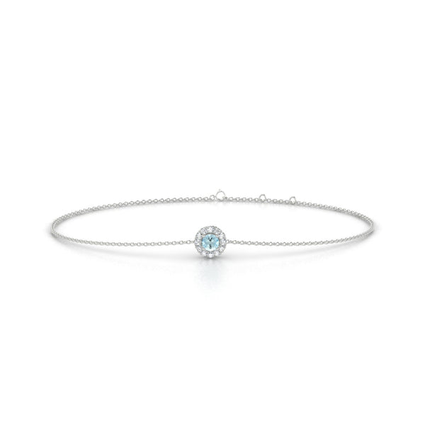 Clothilde Aigue-marine | Ronde 3 mm Or Blanc 18k