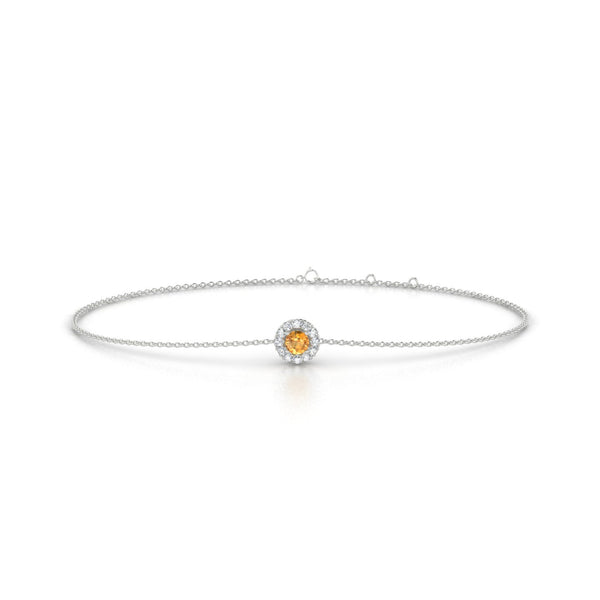 Clothilde Citrine | Ronde 3 mm Or Blanc 18k