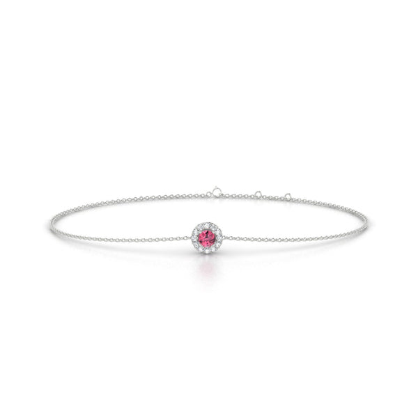 Clothilde Tourmaline rose | Ronde 3 mm Or Blanc 18k