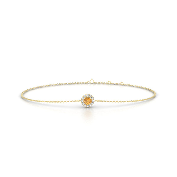 Clothilde Citrine | Ronde 3 mm Or Jaune 18k