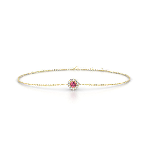 Clothilde Tourmaline rose | Ronde 3 mm Or Jaune 18k