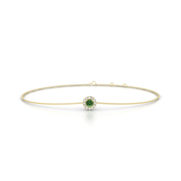 Clothilde Tourmaline verte | Ronde 3 mm Or Jaune 18k
