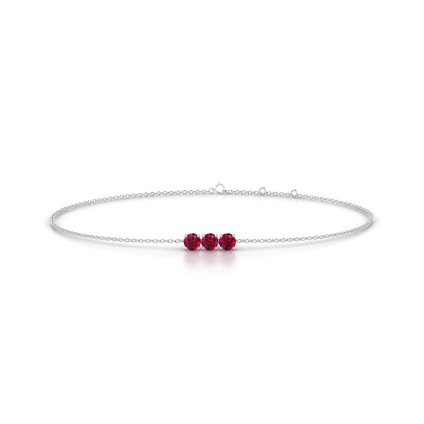 Clymene Rubis | Ronde 3 mm Or Blanc 18k