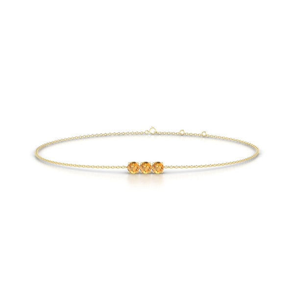 Clymene Citrine | Ronde 3 mm Or Jaune 18k
