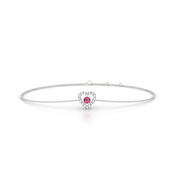 Desir Tourmaline rose | Ronde 3 mm Or Blanc 18k