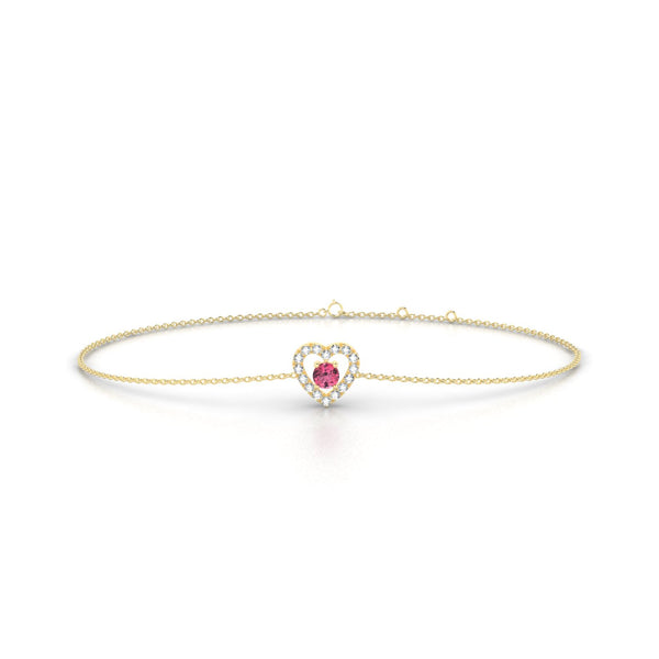 Desir Tourmaline rose | Ronde 3 mm Or Jaune 18k