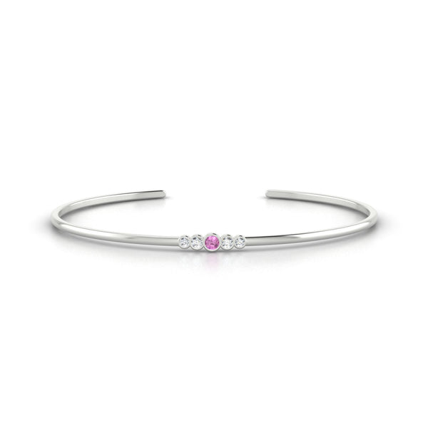 Dionysos Saphir rose | 2.5 mm Or Blanc 18k Ronde