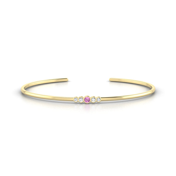 Dionysos Saphir rose | 2.5 mm Or Jaune 18k Ronde