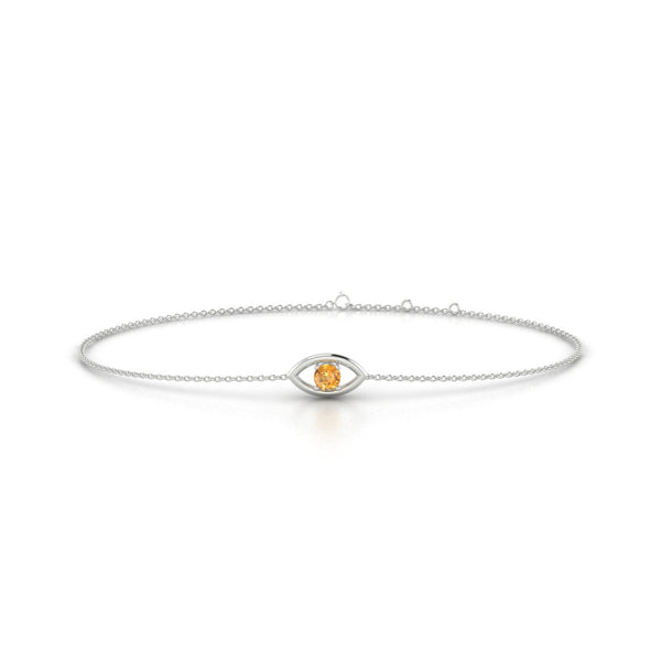 Era Citrine | Ronde 3 mm Or Blanc 18k