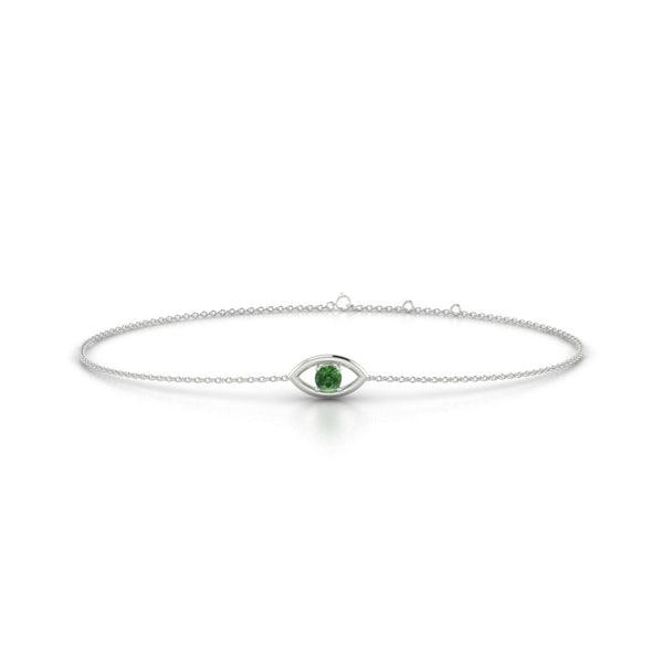 Era Tourmaline verte | Ronde 3 mm Or Blanc 18k