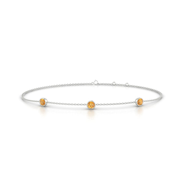 Joie Citrine | Ronde 3 mm Or Blanc 18k