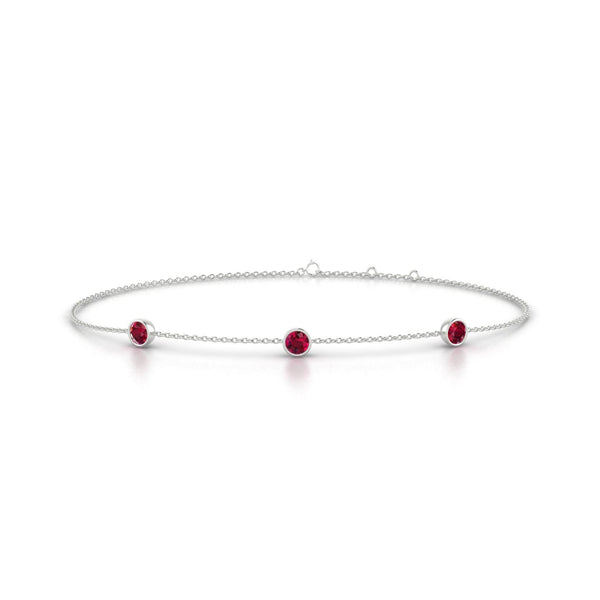Joie Rubis | Ronde 3 mm Or Blanc 18k