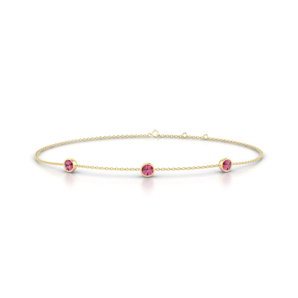 Joie Tourmaline rose | Ronde 3 mm Or Jaune 18k